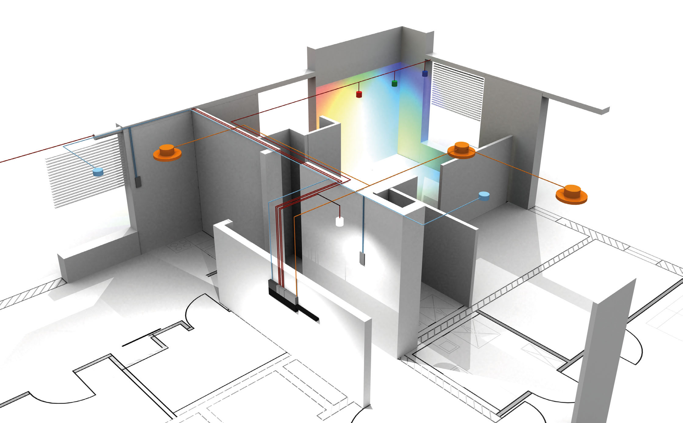 3D Grundriss mit Multi-Room-Audio